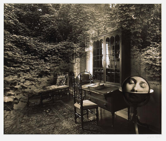 Jerry Uelsmann (American, born 1934); Untitled (Toning Experience); Untitled (Kudzu Library with Woman's Face in Globe); (2)
