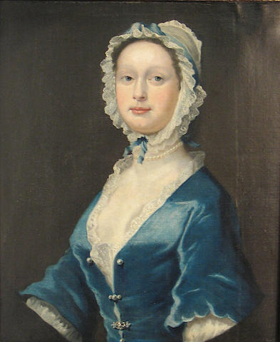 English School (18th Century), A portrait of a lady wearing a lace bonnet and blue dress, o/c, 30 x 24 inches 30 x 25in