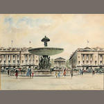 A. Callahan (20th Century) Place de la Concorde, Paris sight 17 1/4 x 23 1/2in