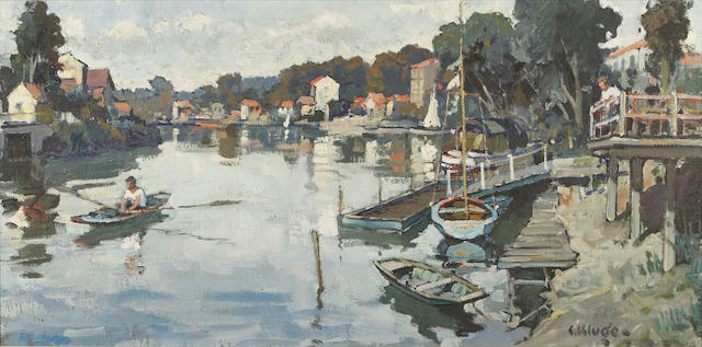 Constantin Kluge (French, 1912-2003) Dimanche à Joinville 19 5/8 x 39 3/8in (50 x 100cm)