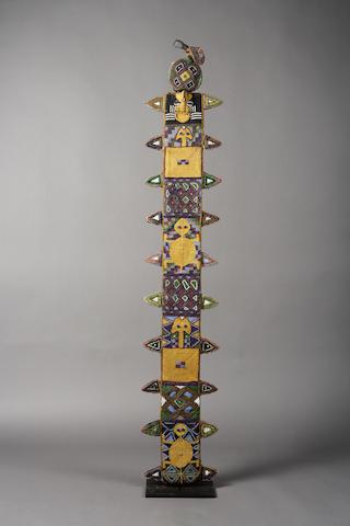 A Yoruba beaded oko staff sheath