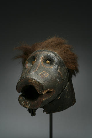 A Baule zoomorphic helmet mask