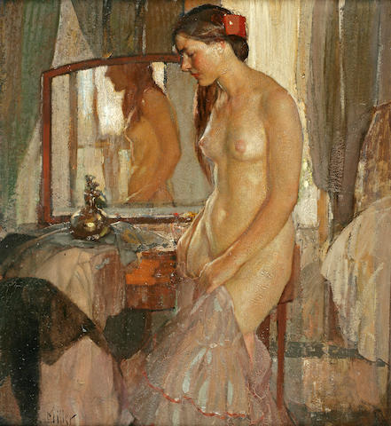 Richard Edward Miller (American, 1875-1943) Standing Nude 36 x 34in