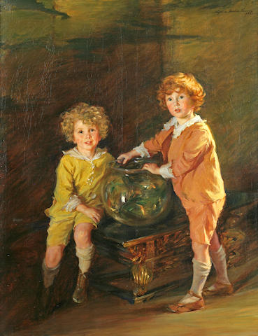 Lydia Field Emmet (American, 1866-1952) Goldfish, a Portrait of Roland and Peter Hazard, 1921 62 x 48in