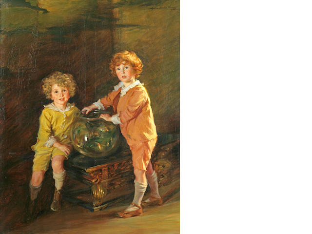 Lydia Field Emmet (American, 1866-1952) Goldfish, a Portrait of Roland and Peter Hazard, 1921 62 x 4