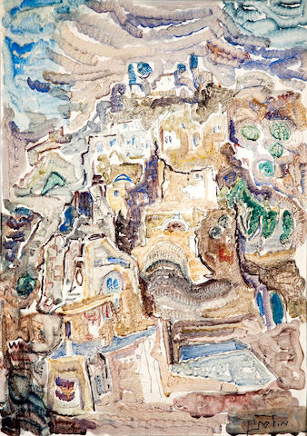 Mordechai Levanon (Israeli, 1901-1968) Untitled (Safed) 27 1/2 x 19 5/8in (70 x 50cm)