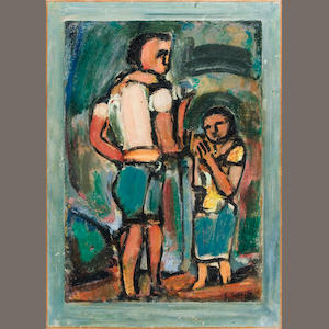Georges Rouault (French, 1871-1958) Paysans, 1939 26 3/8 x 18 1/2in (67 x 47cm) paper 22 7/16 x 15 3