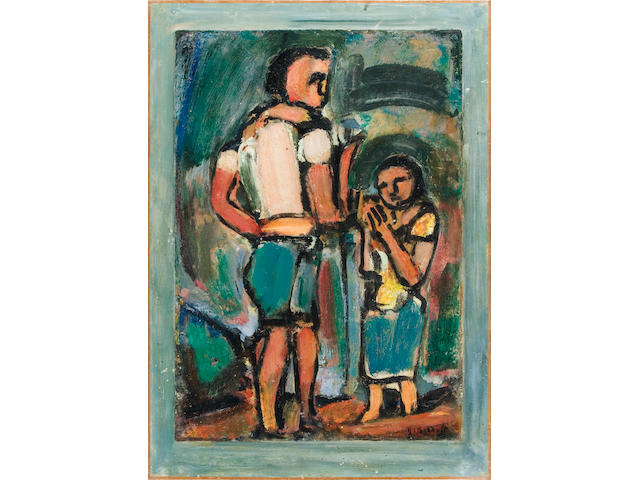 Georges Rouault (French, 1871-1958) Paysans, 1939 26 3/8 x 18 1/2in (67 x 47cm) paper 22 7/16 x 15 3/8in (57 x 39cm)