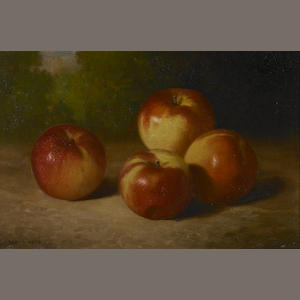 Bryant Chapin (American, 1859-1927) Still Life with Four Apples 10 x 15in
