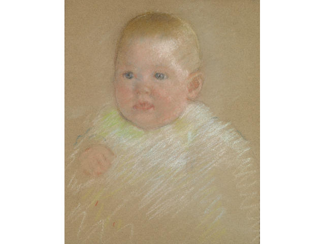 Mary Cassatt (American, 1845-1926) Head of a Baby 14 x 12in
