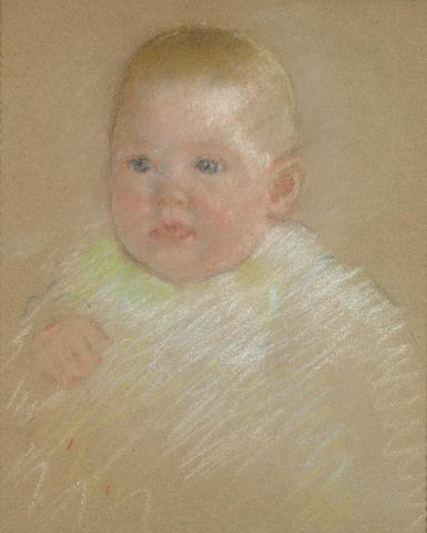 Mary Cassatt (American, 1845-1926) Head of a Baby 14 x 12in