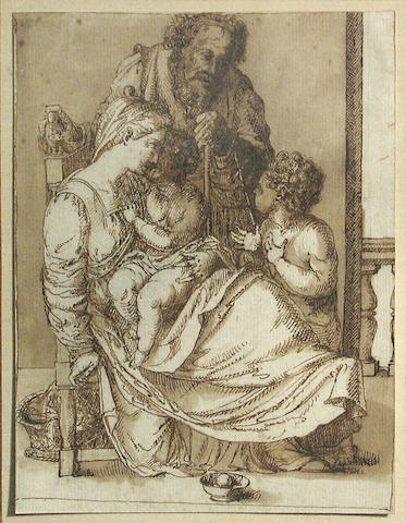 Italian, Holy Family, drawing; together with a Female Nude (2)