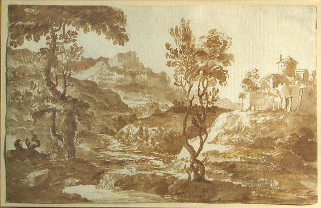 Italian School, 18th Century An extensive landscape with buildings on a hill top 8 3/4 x 13 3/4in