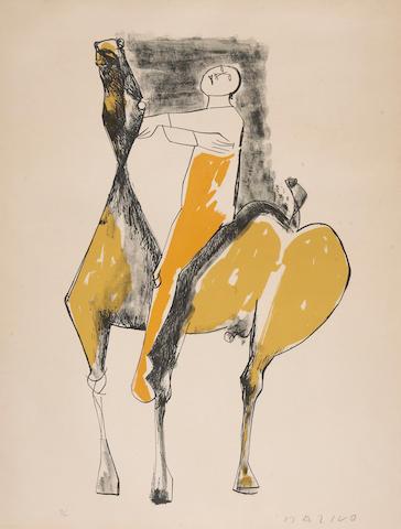 Marino Marini (Italian, 1901-1980); Cavalier et Cheval, Orange et Jaune;