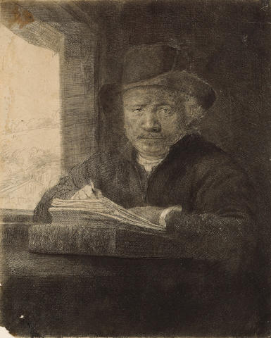Rembrandt Harmensz van Rijn (Dutch, 1606-1669); Self-portrait Drawing at a Window;