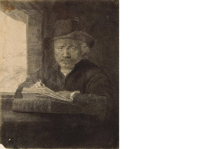 Rembrandt Harmensz van Rijn (Dutch, 1606-1669); Self-portrait Drawing at a Window ;
