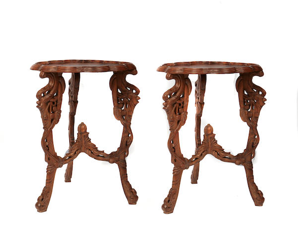 A pair of Art Nouveau style inlaid tables
