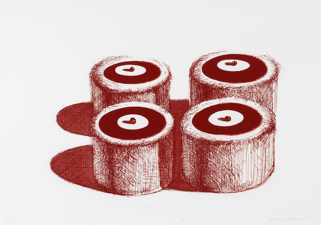 Wayne Thiebaud (American, born 1920); Cherry Cakes, from Recent Etchings II;