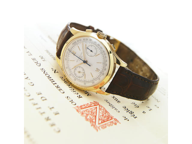Patek Philippe. An extremely fine and rare 18k gold oversize chronograph wristwatch with original guarantee and purchase receiptRef.530, Movement No.868'586, Case No.513'038, sold in 1954