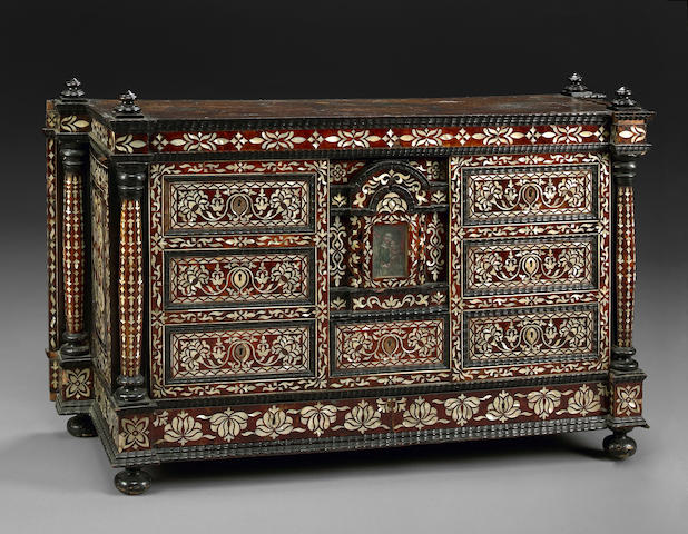 A South American Colonial shell and tortoiseshell mounted ebonized cabinet possibly Peruvian