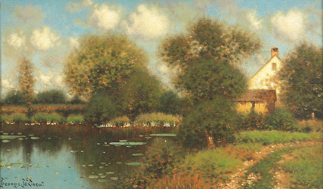 George W. Drew (American, 1875-1968) A Lakeside Cottage 6 1/8 x 10 1/8in