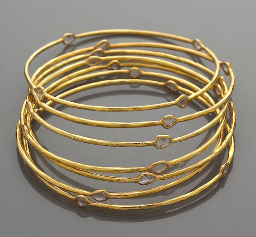 A set of seven diamond bangle bracelets