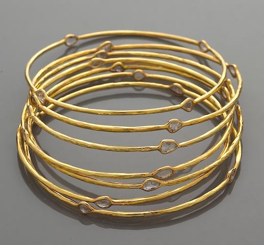 A set of seven diamond bangle bracelets