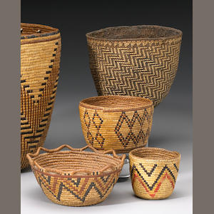 Four Northwest Coast baskets