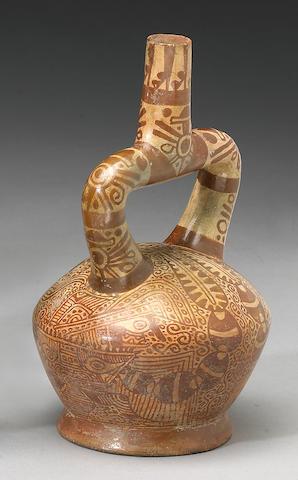 A Moche stirrup spout vessel