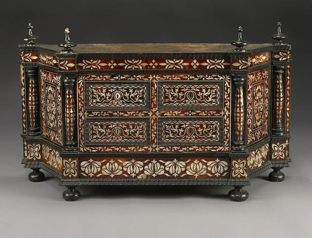 A South American Colonial shell and tortoiseshell mounted ebonized cabinet