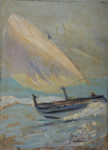 Attributed to Joaquin Sorolla y Bastida (Spanish, 1863-1923) A Sailboat in rough seas 9 x 6 1/2in (22.8 x 16.5cm)