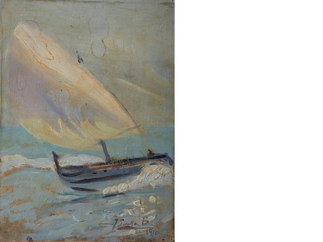 Attributed to Joaquin Sorolla y Bastida (Spanish, 1863-1923) A Sailboat in rough seas 9 x 6 1/2in (22.8 x 16.5cm)