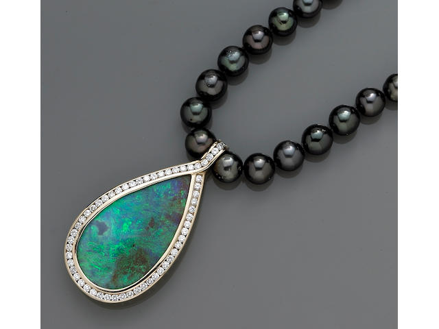 A boulder opal, cultured pearl and and diamond necklace