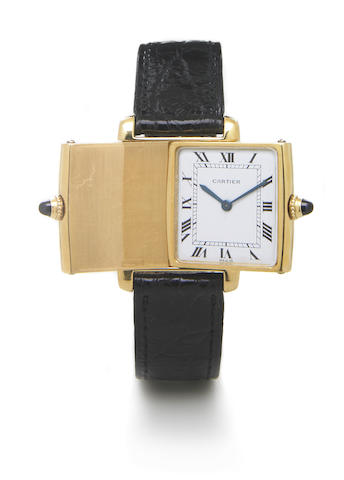 Cartier, Paris. A rare 18k gold rectagular reversible wristwatch with 18k gold deployant buckleTank 'Reversible', Case No.59394, Movement No.1995781, l970s