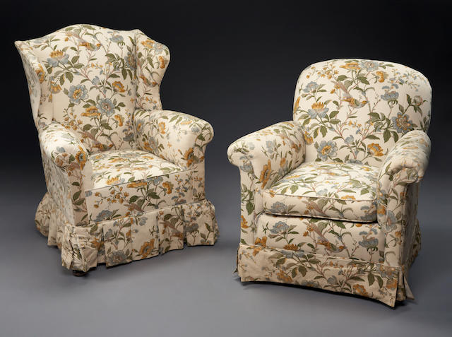 Three upholstered club chairs