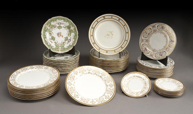 An assembled grouping of English bone china plates