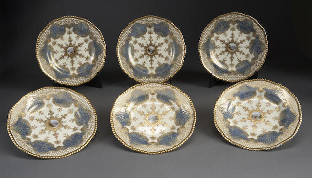 Twelve English bone china dessert plates