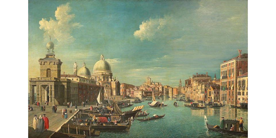 Follower of Antonio Canal, known as il Canaletto (Italian, 1697-1768) A view of the Grand Canal, Venice with Santa Maria della Salute beyond 37 3/4 x 60 1/2in (95.8 x 153.6cm)