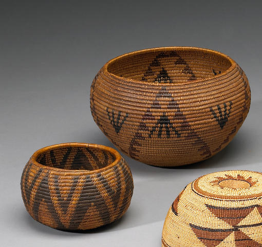 Two Western polychrome baskets