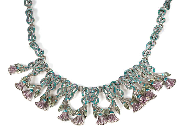 A silver and enamel floral and knot motif necklace, Margot