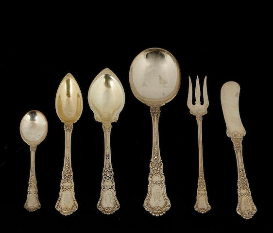 Sterling Old Baronial Flatware Set by Gorham
