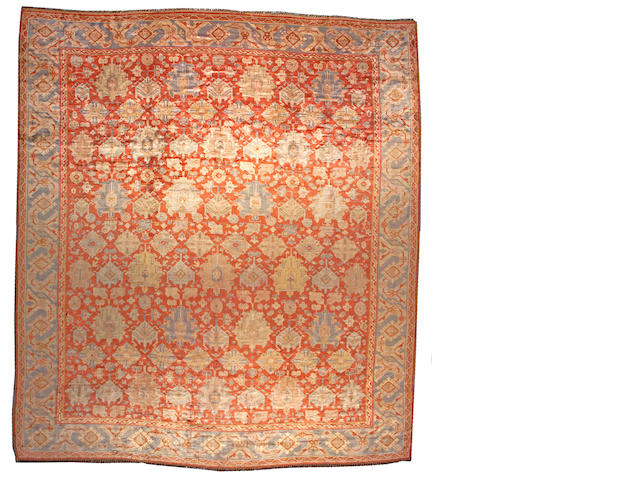 An Angorra Oushak carpet West Anatolia, size approximately 12ft. 6in. x 17ft. 8in.