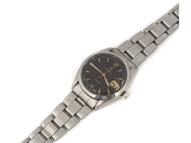 Rolex. A stainless steel calendar bracelet watch with black dialOysterDate, Ref.6294, made in 1954