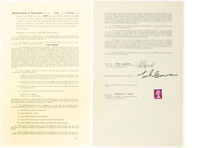 "A John Lennon and Neil Aspinall signed contract for ""Yer Blues,"" 1968"