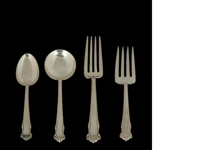 Sterling English Shell Flatware Set by Lunt with Case