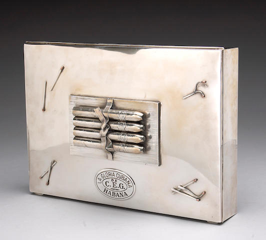 Sterling Trompe L'Oeil Cigar Box by Tiffany & Co.