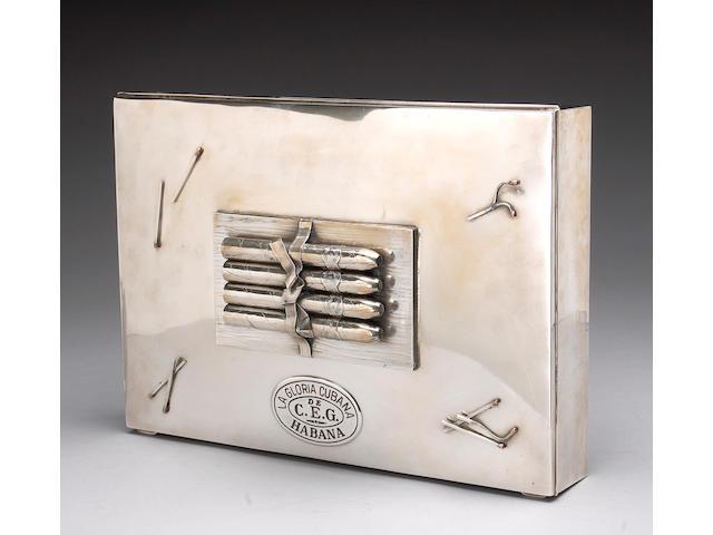 Sterling Trompe L'Oeil Cigar Box by Tiffany & Co.