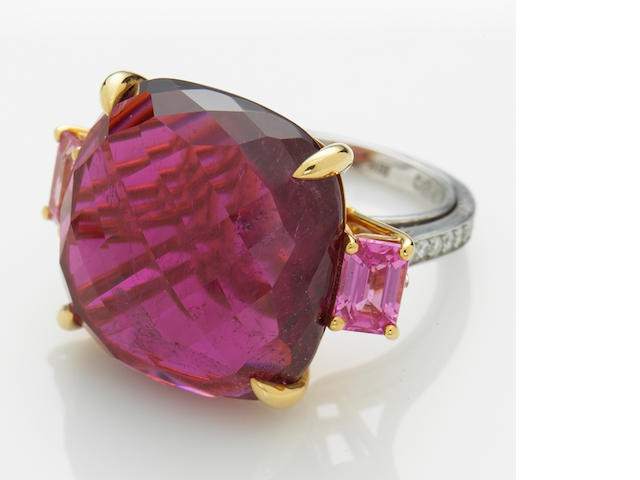 A rubellite tourmaline, pink sapphire and diamond ring