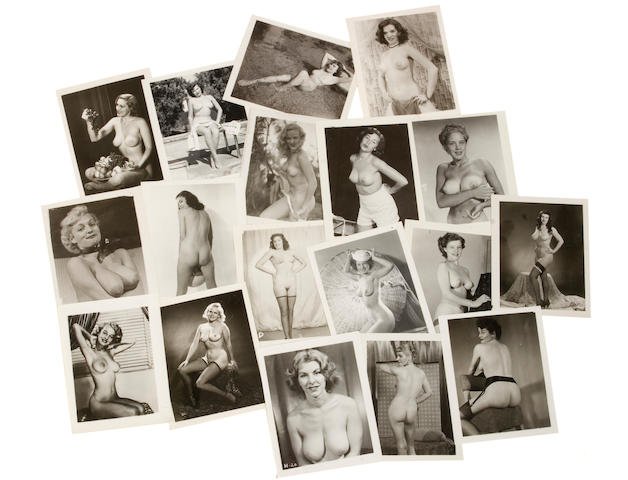 A massive collection of vintage black and white photographs of nude models, 1940s-1950s