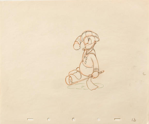 "A Walt Disney animation drawing of Donald Duck from ""Donald's Golf Game"""